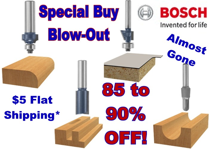 Almost Gone! Special Buy Bosch Router Bits Now 90% Off